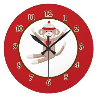 Reloj de pared del mono del calcetín (rojo)