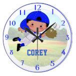 Reloj de pared del muchacho del béisbol