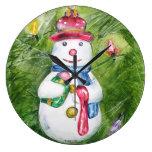 Reloj de pared del muñeco de nieve del árbol de na