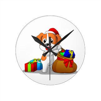 Reloj de pared del navidad de Jack Russell Terrier