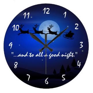 Reloj de pared del navidad del trineo de Papá Noel