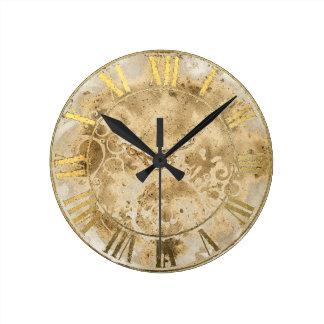 Reloj de pared del número romano del oro del vinta