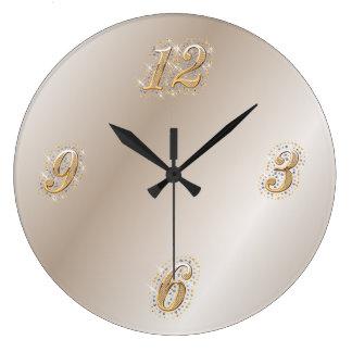 Reloj de pared del oro y de la perla