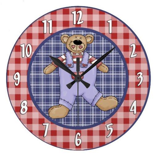 Reloj de pared del oso de peluche del país