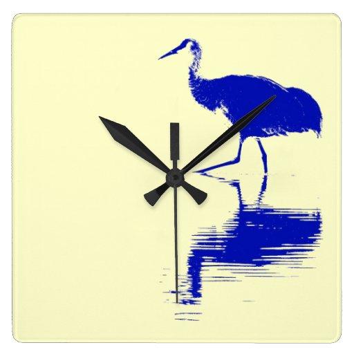 Reloj de pared del pájaro de la grúa