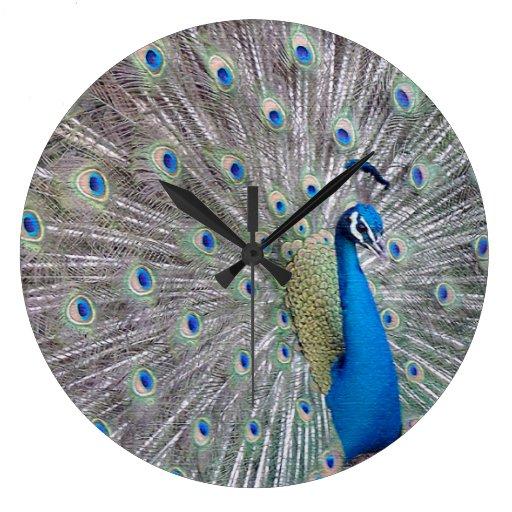Reloj de pared del pájaro del pavo real