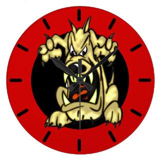 Reloj de pared del perro de ataque del dibujo anim