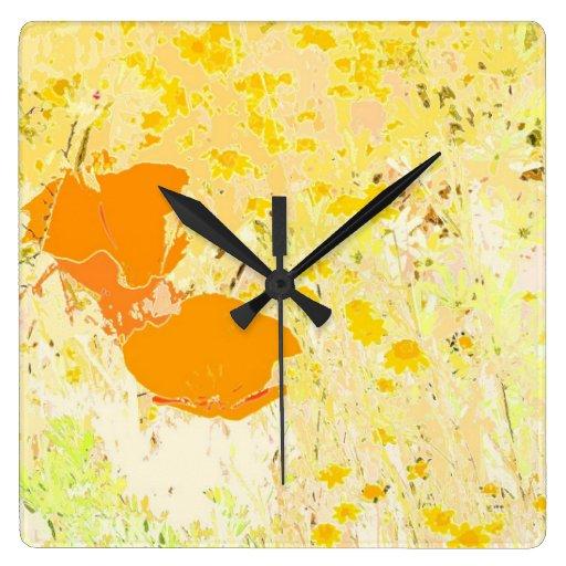Reloj de pared del prado de las amapolas