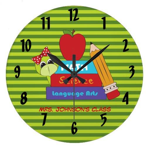 Reloj de pared del profesor de los libros de escue
