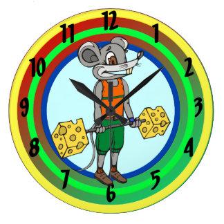 Reloj de pared del queso de Weightlifing del ratón