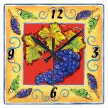Reloj de pared del racimo de la uva