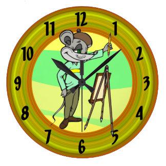 Reloj de pared del ratón del artista