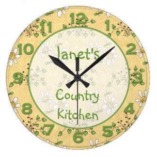 Reloj de pared del reloj del país del verde amaril