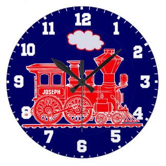 Reloj de pared del rojo y de los azules marinos de