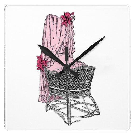 Reloj de pared del rosa de la cuna del bebé del vi