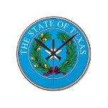 Reloj de pared del sello del estado de Tejas