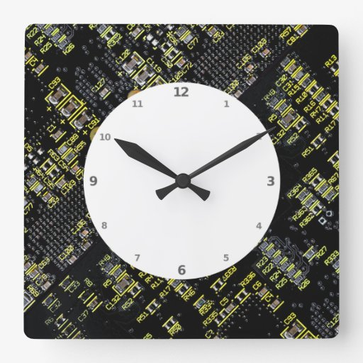 Reloj de pared del tablero del circuito integrado