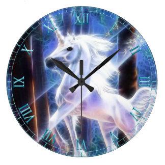 Reloj de pared del unicornio del fractal