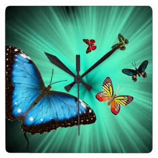 Reloj de pared del viaje de las mariposas
