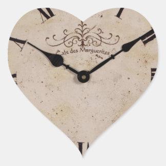 Reloj de pared del vintage pegatina en forma de corazón