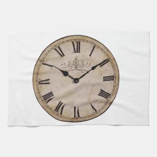 Reloj de pared del vintage toalla de mano
