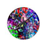 Reloj de pared digital del arte de la ilusión flor