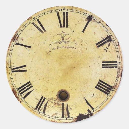 Reloj de pared elegante lamentable del vintage pegatina redonda