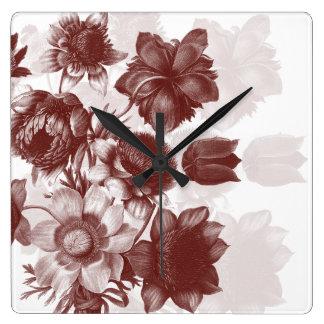 Reloj de pared elegante marrón del ramo de la flor