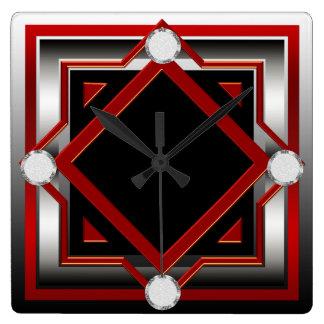 Reloj de pared entonado negro y de plata rojo