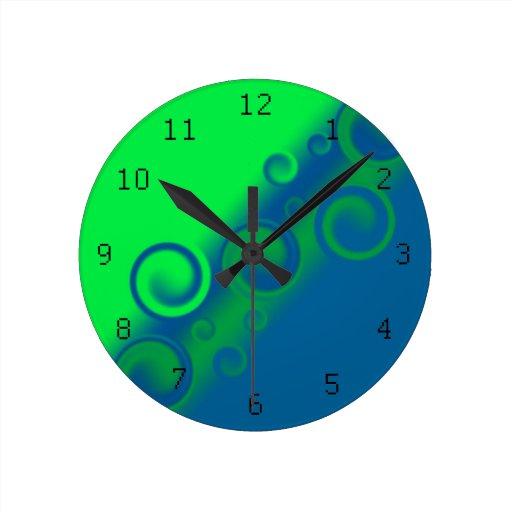 reloj de pared espiral azul