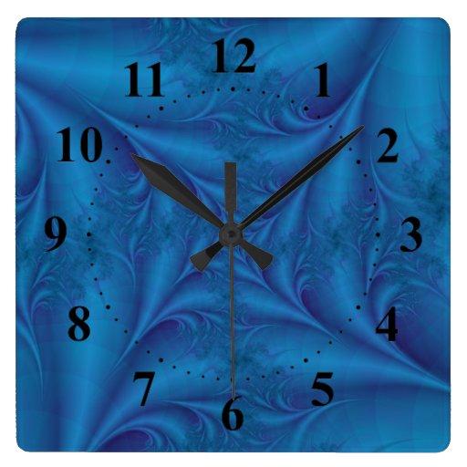 Reloj de pared espiral cuadrado azul