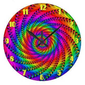 Reloj de pared espiral del arco iris
