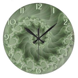 Reloj de pared espiral verde sedoso del fractal