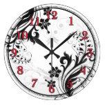 Reloj de pared floral asiático negro, blanco, y ro