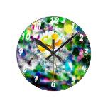Reloj de pared floral de la cocina del arte de la