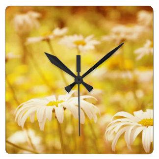 Reloj de pared floral de las margaritas de la sol