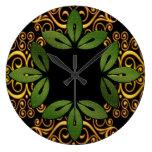 Reloj de pared floral decorativo de las hojas