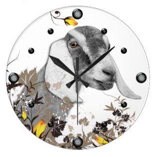 Reloj de pared floral del bosquejo de la cabra de