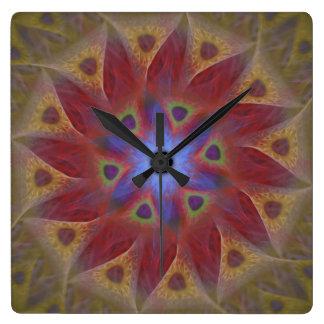 Reloj de pared floral del cuadrado del reloj de so