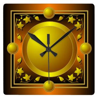 Reloj de pared floral metálico del marco del oro d