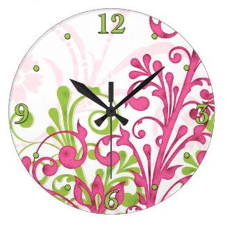 Reloj de pared floral rosado, verde, blanco brilla
