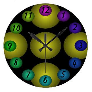 Reloj de pared flotante verde del diseño del color