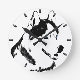 Reloj de pared fornido del perro de trineo de la
