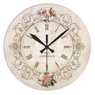 Reloj de pared francés de la antigüedad de los ros