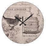 Reloj de pared francés del pájaro del vintage