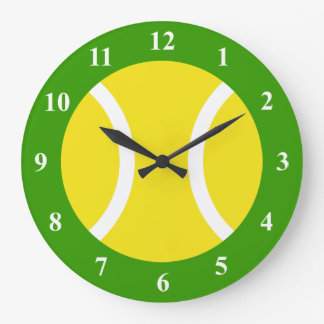 Reloj de pared grande de la pelota de tenis con nú