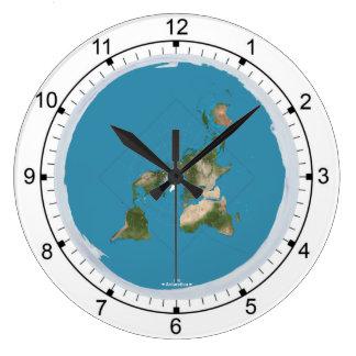 Reloj de pared grande de la tierra plana