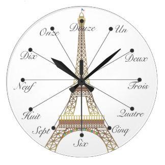 Reloj de pared grande de la torre Eiffel