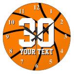 Reloj de pared grande del baloncesto con grandes n