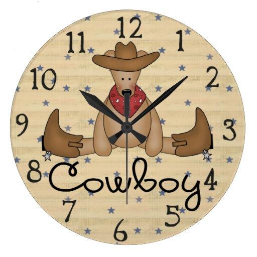 Reloj de pared grande del oso lindo del vaquero